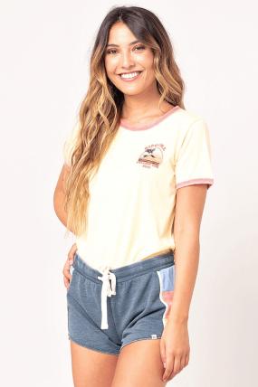 Ripcurl Golden State Ringer Tee| Moteriška vasariška palaidinė | Marškinėliai  T-shirt tipo| Surfwax Surf stiliaus aprangos pard